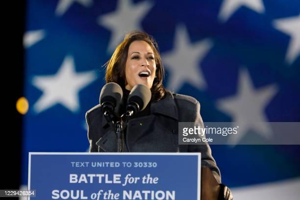 Philadelphia, Pennsylvania Nov. 2, 2020 Senator Kamala Harris addresses supporters at the drive- rally Monday night, Nov.2, 2020 at Citizens Bank...