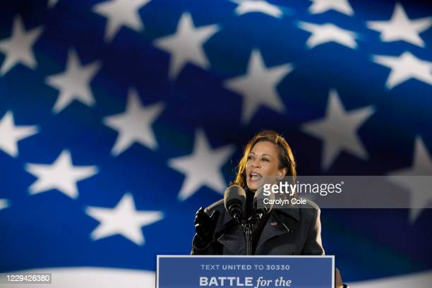 Philadelphia, PennsylvaniaNov. 2, 2020Senator Kamala Harris addresses supporters at the drive- rally Monday night, Nov.2, 2020 at Citizens Bank Park...