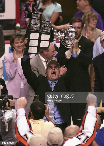 Philadelphia Phantoms assistant coach Craig Berube celebrates the Philadelphia Phantoms 5-2 win over the Chicago Wolves during the American Hockey...