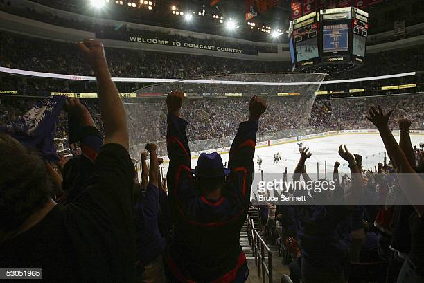 Philadelphia Phantoms fans support their team during game four of the Calder Cup Championship where the Phantoms defeated the Wolves 5-2 to sweep the...