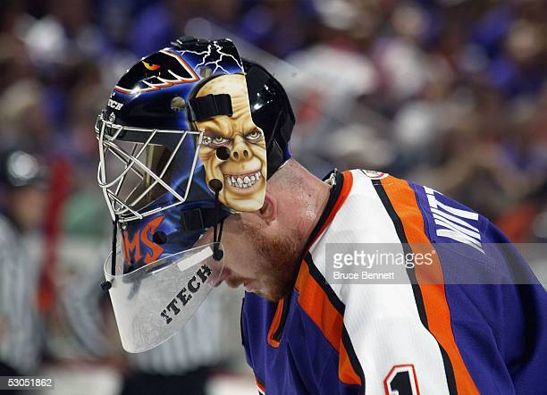 Philadelphia Phantoms goalie Antero Niittymaki shows off his mask during the American Hockey League Calder Cup final game at the Wachovia Center on...