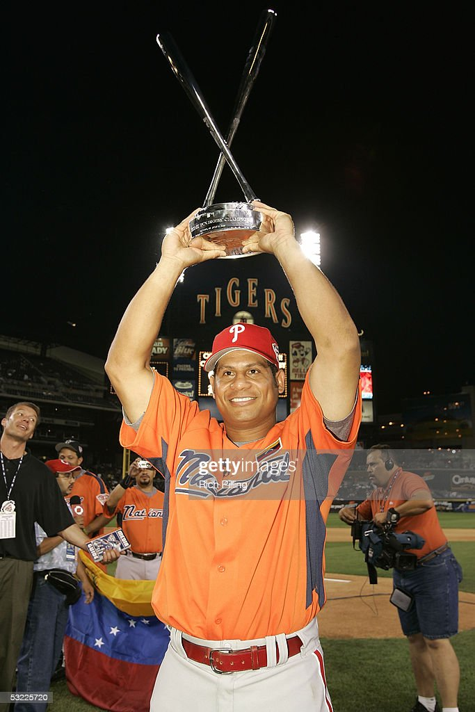 Philadelphia Phillie Bobby Abreu of Venezuela celebrates winning the 2005 Major League Baseball Home Run Derby on July 11, 2005 at Comerica Park in Detroit, Michigan.