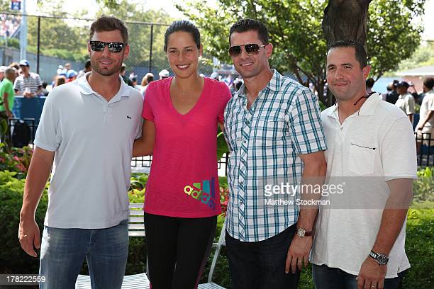 MLB Philadelphia Phillies Baseball Players Kevin Frandsen Tennis player Ana Ivanovic of Serbia Michael Young and John McDonald pose on Day Two of the...