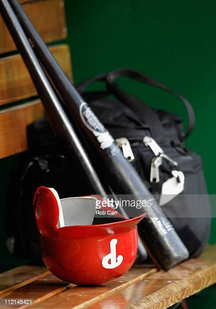 Philadelphia Phillies batting helmet sits in the dugout during the Phillies and Washington Nationals game at Nationals Park on April 12 2011 in...