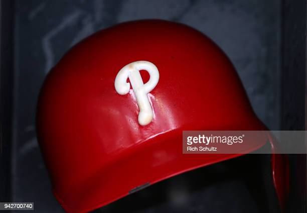Philadelphia Phillies batting helmet with the new raised logo in the dugout before a game against the New York Mets at Citi Field on April 4 2018 in...