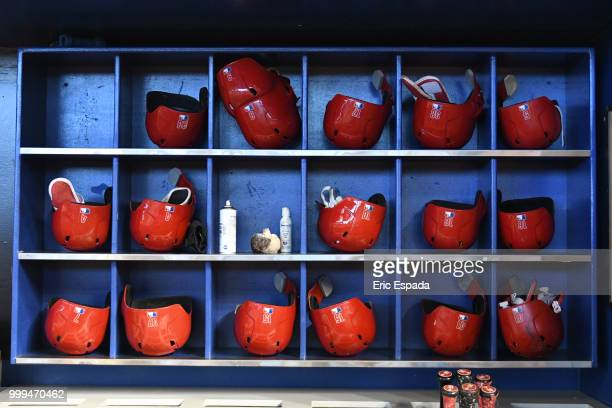 Philadelphia Phillies batting helmets sit in the dugout before the start of the game against the Miami Marlins at Marlins Park on July 15 2018 in...