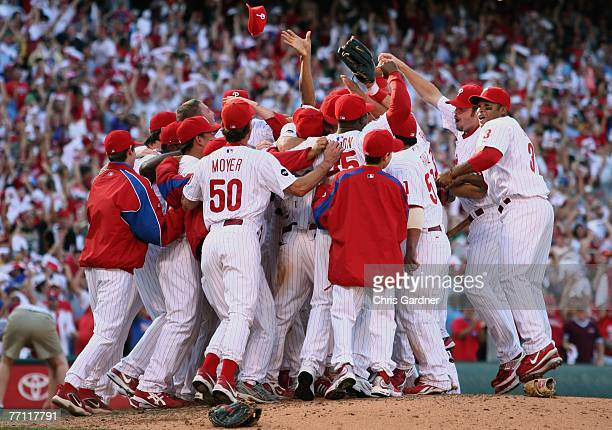 Philadelphia Phillies celebrate their 6-1 win over the Washington Nationals giving them the divisional title at Citizens Bank Park September 30, 2007...