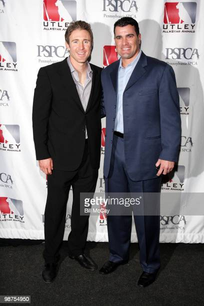 Philadelphia Phillies Chase Utley and Danys Baez attend the 3rd Annual Utley AllStars Animal Casino Night at The Electric Factory April 29 2010 in...