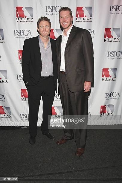 Philadelphia Phillies Chase Utley and Roy Halladay attend the 3rd Annual Utley AllStars Animal Casino Night at The Electric Factory April 29 2010 in...