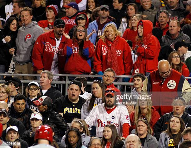 Philadelphia Phillies fans cheer during the game against the Pittsburgh Pirates on April 7 2012 at PNC Park in Pittsburgh Pennsylvania The Pirates...