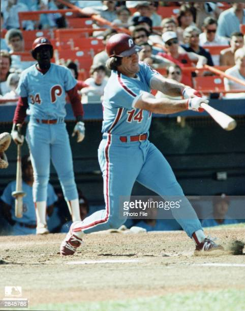Philadelphia Phillies first base man Pete Rose swings his bat at the plate during a game circa 1982