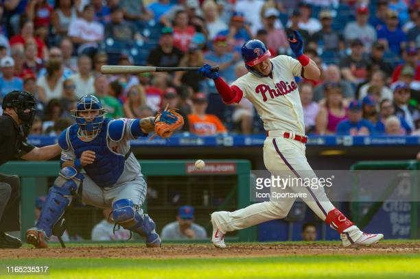 Philadelphia Phillies left fielder Corey Dickerson strikes out during the fourth inning of the Major League Baseball game between the New York Mets...