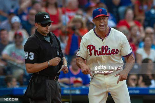 Philadelphia Phillies manager Gabe Kapler argues a call during the third inning of the Major League Baseball game between the New York Mets and...