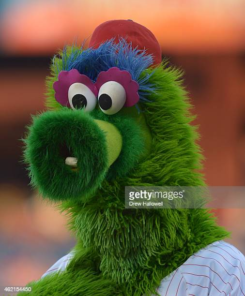 Philadelphia Phillies mascot the Philly Phanatic looks on before the game Washington Nationals at Citizens Bank Park on August 26 2014 in...