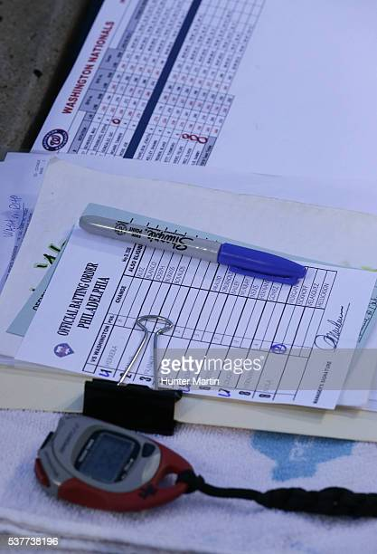 Philadelphia Phillies Official Batting Order lineup card during a game against the Washington Nationals at Citizens Bank Park on May 31 2016 in...