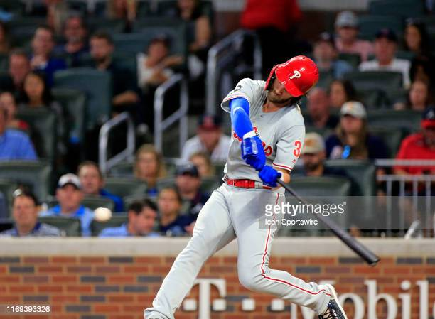 Philadelphia Phillies Outfield Bryce Harper hits a home run during the MLB game between the Atlanta Braves and the Philadelphia Phillies on September...