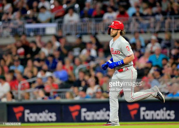 Philadelphia Phillies Outfield Bryce Harper runs the bases after hitting a home run during the MLB game between the Atlanta Braves and the...