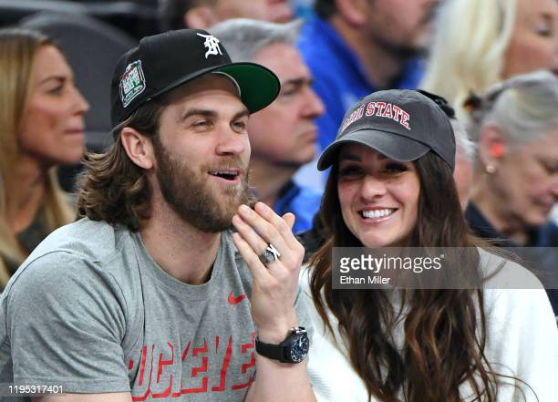Philadelphia Phillies outfielder Bryce Harper and his wife Kayla Harper attend a game between the Ohio State Buckeyes and the Kentucky Wildcats...