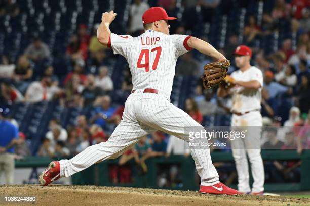 Philadelphia Phillies Pitcher Aaron Loup delivers a pitch during the MLB game between the New York Mets and the Philadelphia Phillies on September 19...