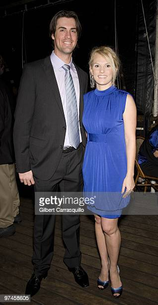 Philadelphia Phillies' pitcher Cole Hamels and wife Heidi Hamels attend the Hamels Foundation fundraiser at Moshulu Penn�s Landing on November 12...