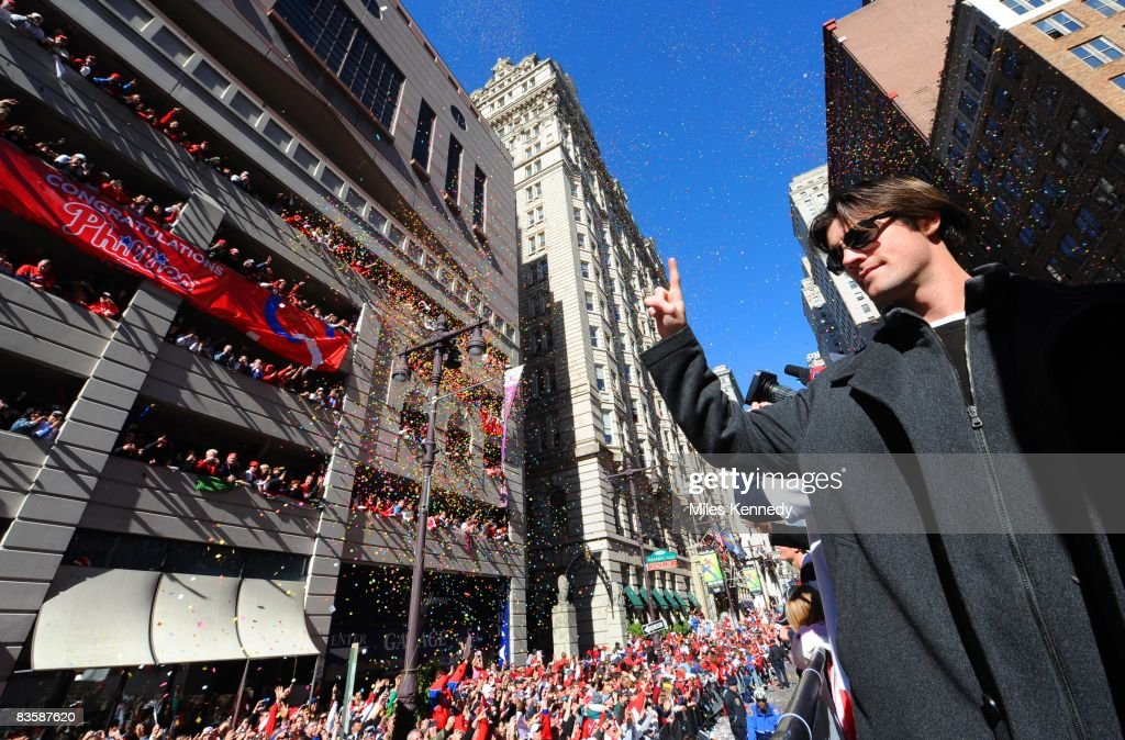 Philadelphia Phillies pitcher Cole Hamels gestures number one to the crowd on Broad Street in Philadelphia during a parade to celebrate winning the World Series on Friday, October 31, 2008. The Phillies defeated the Rays 4-1 to win the 2008 World Series.