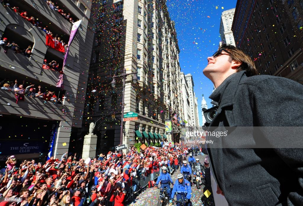 Philadelphia Phillies pitcher Cole Hamels watches the crowd on Broad Street in Philadelphia during a parade to celebrate winning the World Series on Friday, October 31, 2008. The Phillies defeated the Rays 4-1 to win the 2008 World Series.