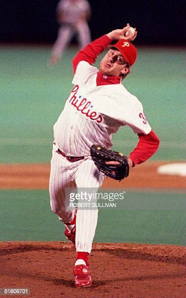 Philadelphia Phillies pitcher Curt Schilling delivers 06 October 1993 during first inning action in game one of the National League Championship...