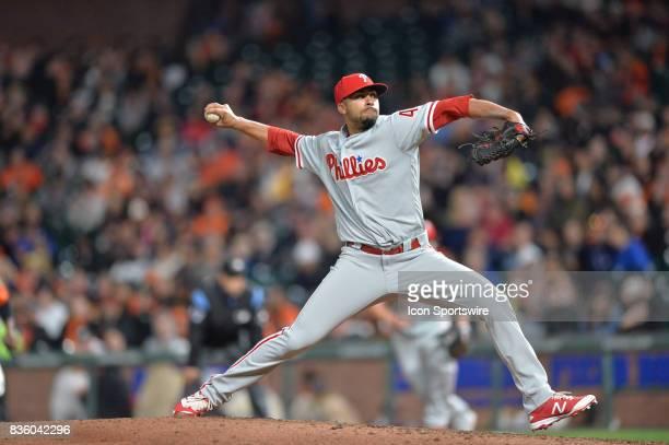 Philadelphia Phillies Pitcher Jesen Therrien pitches during the San Francisco Giants versus Philadelphia Phillies game at ATT Park on August 18 2017...