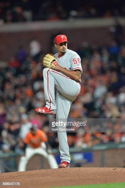 Philadelphia Phillies Pitcher Zach Eflin pitches a strike during the San Francisco Giants versus Philadelphia Phillies game at ATT Park on August 18...