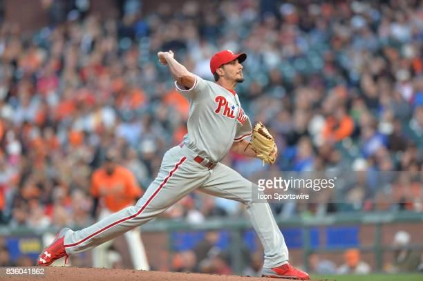 Philadelphia Phillies Pitcher Zach Eflin pitching during the San Francisco Giants versus Philadelphia Phillies game at ATT Park on August 18 2017