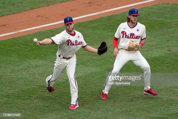 Philadelphia Phillies Pitcher Zack Wheeler throws out New York Mets Center Fielder Billy Hamilton on a sacrifice bunt with Philadelphia Phillies...