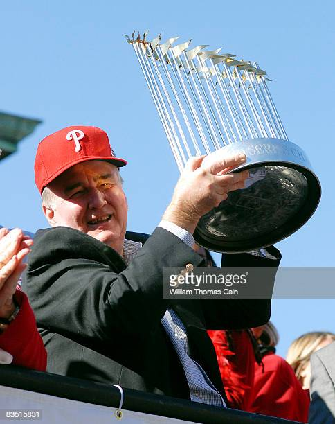 Philadelphia Phillies President Dave Montgomery hold the World Series trophy during the World Championship Parade October 31 2008 in Philadelphia...