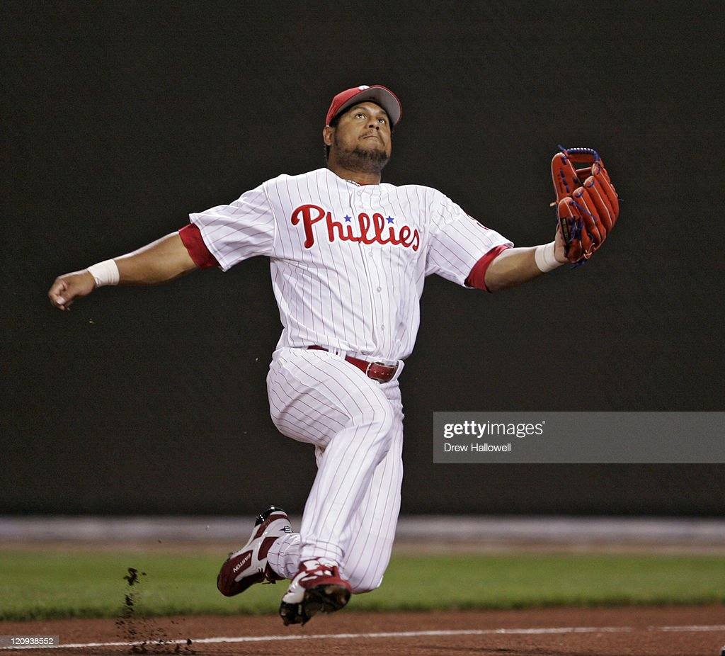 Philadelphia Phillies right fielder Bobby Abreu (53) jumps for a foul ball in Wednesday, April, 19, 2006 at Citizens Bank Park in Philadelphia, PA. The Philadelphia Phillies defeated the Washington Nationals 7-6 in extra innings.