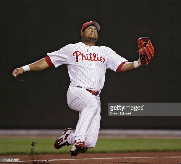 Philadelphia Phillies right fielder Bobby Abreu jumps for a foul ball in Wednesday April 2006 at Citizens Bank Park in Philadelphia PA The...