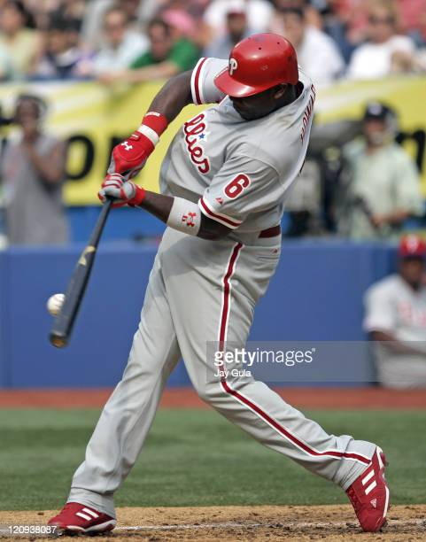 Philadelphia Phillies Ryan Howard makes contact with a pitch during the game against the Toronto Blue Jays at Rogers Centre in Toronto, Canada on...