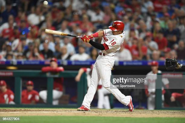 Philadelphia Phillies Second base Cesar Hernandez hits a fly ball during a Major League Baseball game between the New York Yankees and the...