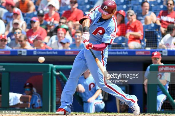 Philadelphia Phillies Second base Cesar Hernandez hits a home run during the game between the San Fransisco Giants and the Philadelphia Phillies on...