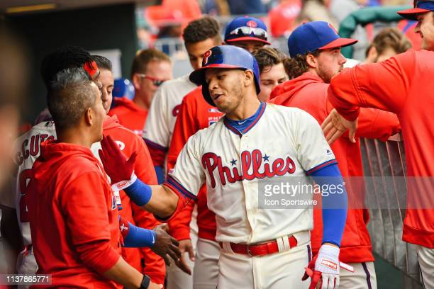 Philadelphia Phillies second baseman Cesar Hernandez celebrates his home run during the game between the New York Mets and the Philadelphia Phillies...