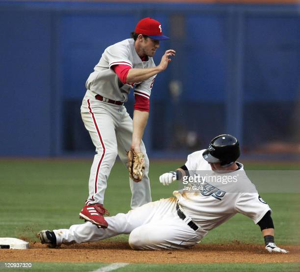 Philadelphia Phillies secondbaseman Chase Utley is late with the tag as Toronto Blue Jay's Shea Hillenbrand slides in safely with a stolen base at...