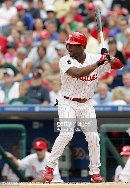Philadelphia Phillies' short stop Jimmy Rollins against the New York Mets in the first game of a double header in Major League Baseball action at...
