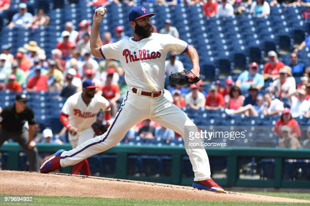 Philadelphia Phillies Starting pitcher Jake Arrieta throws a pitch during a Major League Baseball game between the St Louis Cardinals and the...