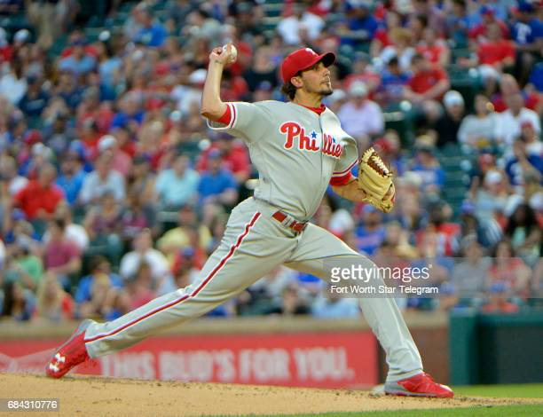 Philadelphia Phillies starting pitcher Zach Eflin pitches during the third inning as the Rangers play the Phillies Wednesday May 17 2017 at Globe...