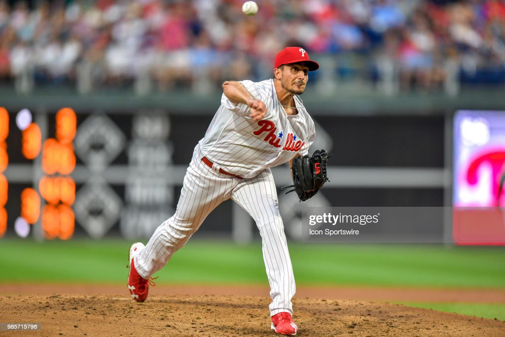 Philadelphia Phillies starting pitcher Zach Eflin (56) releases his pitch during the MLB game between the New York Yankees and the Philadelphia Phillies on June 27, 2018 at Citizens Bank Park in Philadelphia PA.