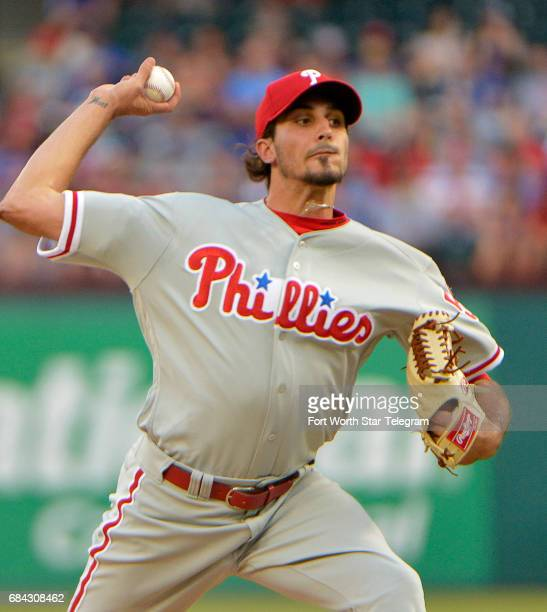 Philadelphia Phillies starting pitcher Zach Eflin throws the first inning as the Rangers play the Phillies Wednesday May 17 2017 at Globe Life Park...