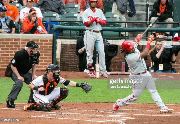Philadelphia Phillies third baseman Maikel Franco swings in the second inning during a MLB game between the Baltimore Orioles and the Philadelphia...
