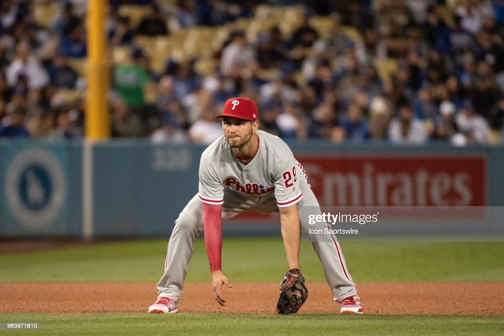 Philadelphia Phillies thirds baseman Mitch Walding during a Major League Baseball game between the Philadelphia Phillies and the Los Angeles Dodgers on May 30, 2018 at Dodger Stadium, Los Angeles, CA.