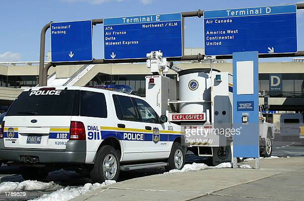 Philadelphia Police Bomb Disposal Unit sits outside the terminals at the Philadelphia International Airport February 13 2003 in Philadelphia...
