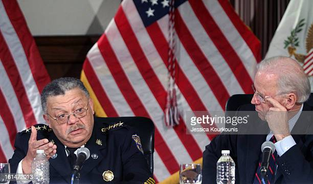 Philadelphia Police Commissioner Charles Ramsey delivers comments as US Vice President Joseph Biden looks on following a roundtable discussion with...