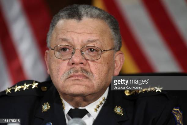 Philadelphia Police Commissioner Charles Ramsey listens to US Vice President Joseph Biden deliver remarks following a roundtable discussion with law...