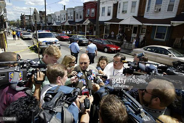 Philadelphia Police East Division Captain Len Ditchkofsky answers questions about 6 year old Destiny Wright during a news conference August 7 2002 in...